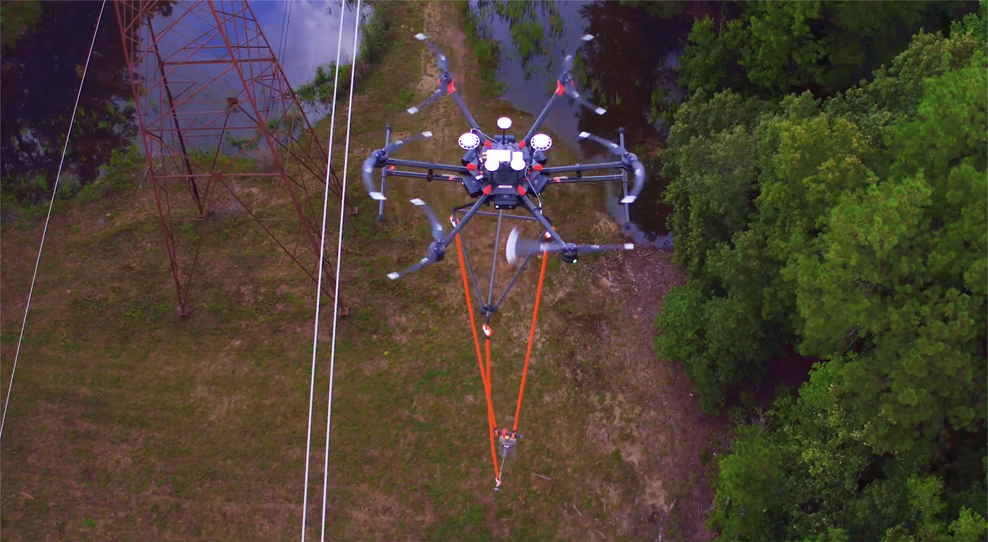 photo of utility line maintenance by drone